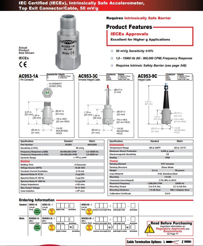 CTC本质安全加速度振动传感器AC953技术参数
